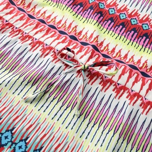 Sexy Women Mini Loose Dress Geometric Print O-Neck Short Sleeves Drawstring Casual Beach Dress OrangeApparel &amp; Jewelry<br>Sexy Women Mini Loose Dress Geometric Print O-Neck Short Sleeves Drawstring Casual Beach Dress Orange<br>