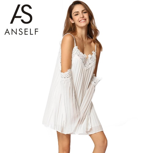 Boho Women Pleated Chiffon Dress Cold Shoulder Crochet Lace Splice Flare Sleeve Mini Beach Party One-Piece White/BlackApparel &amp; Jewelry<br>Boho Women Pleated Chiffon Dress Cold Shoulder Crochet Lace Splice Flare Sleeve Mini Beach Party One-Piece White/Black<br>