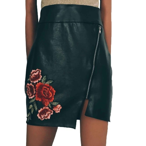 Europe Sexy Women Mini PU Skirt Floral Embroidery Solid Color Irregular Bodycon Casual A-Line Skirts BlackApparel &amp; Jewelry<br>Europe Sexy Women Mini PU Skirt Floral Embroidery Solid Color Irregular Bodycon Casual A-Line Skirts Black<br>
