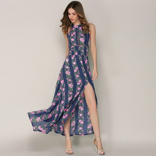 Sexy Women Maxi Dress Halter Floral Print Striped Sleeveless Backless Split Summer Beach Holiday Long Dress BlueApparel &amp; Jewelry<br>Sexy Women Maxi Dress Halter Floral Print Striped Sleeveless Backless Split Summer Beach Holiday Long Dress Blue<br>
