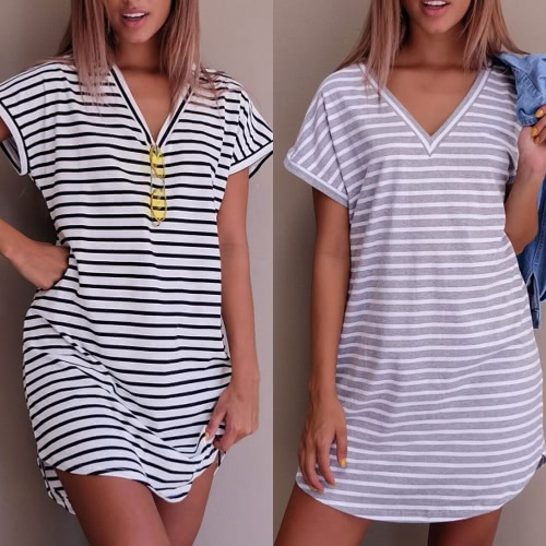 New Sexy Women Mini Dress Striped V-Neck Short Sleeves Casual Dress White/GreyApparel &amp; Jewelry<br>New Sexy Women Mini Dress Striped V-Neck Short Sleeves Casual Dress White/Grey<br>