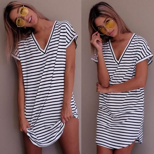 New Sexy Women Mini Dress Striped V-Neck Short Sleeves Casual Dress White/GreyApparel &amp; Jewelry<br>New Sexy Women Mini Dress Striped V-Neck Short Sleeves Casual Dress White/Grey<br>