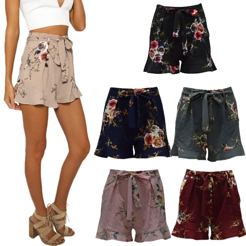 New Women Floral Print Shorts High Waist Ruffle Ruched Side Pocket Zipper With Belt ShortsApparel &amp; Jewelry<br>New Women Floral Print Shorts High Waist Ruffle Ruched Side Pocket Zipper With Belt Shorts<br>