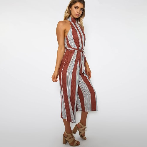 New Sexy Women Stripe Jumpsuit Halter Backless Zipper Belted Wide Leg Playsuit Rompers RedApparel &amp; Jewelry<br>New Sexy Women Stripe Jumpsuit Halter Backless Zipper Belted Wide Leg Playsuit Rompers Red<br>