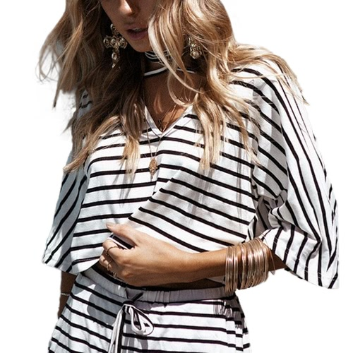 Women Two-piece Set Stripe Jumpsuit Romper Strap Bow Waist Tie Overalls Summer Beach Playsuit WhiteApparel &amp; Jewelry<br>Women Two-piece Set Stripe Jumpsuit Romper Strap Bow Waist Tie Overalls Summer Beach Playsuit White<br>