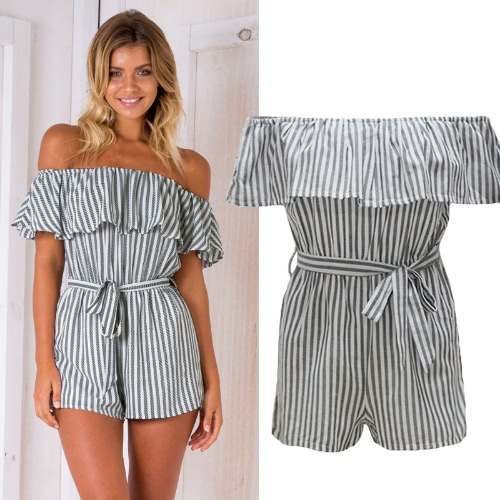 Sexy Women Off Shoulder Jumpsuit Vertical Striped Ruffles Waist Strap Summer Casual Short Playsuit Romper BlackApparel &amp; Jewelry<br>Sexy Women Off Shoulder Jumpsuit Vertical Striped Ruffles Waist Strap Summer Casual Short Playsuit Romper Black<br>