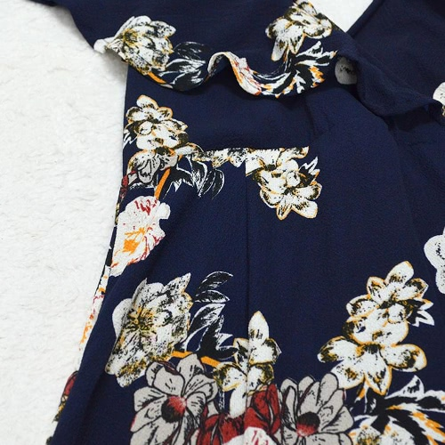 Vintage Women Maxi Summer Dress Flower Print Plunge V-neck Fold Hem Dress Dark Blue/WhiteApparel &amp; Jewelry<br>Vintage Women Maxi Summer Dress Flower Print Plunge V-neck Fold Hem Dress Dark Blue/White<br>