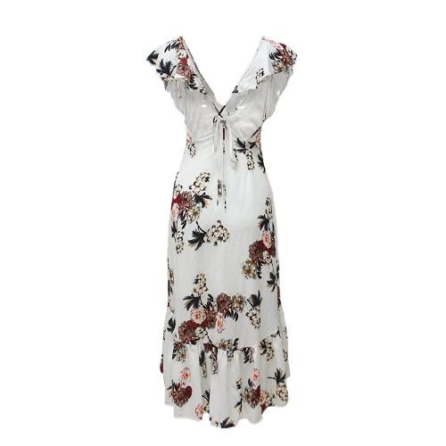Vintage Women Maxi Summer Dress Flower Print Plunge V-neck Fold Hem Dress Dark Blue/WhiteApparel &amp; Jewelry<br>Vintage Women Maxi Summer Dress Flower Print Plunge V-neck Fold Hem Dress Dark Blue/White<br>