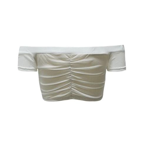 Women Sexy Mesh Crop Top Semi-Sheer Off Shoulder Ruched Tassel Drawstring Short Top Black/White