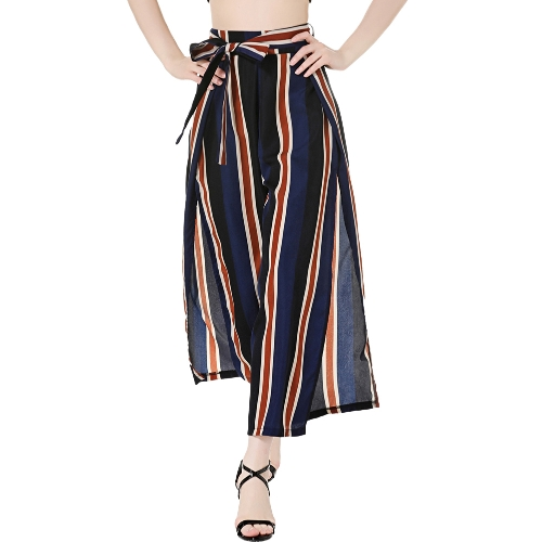 Women Wide Legs Cropped Pants Side Slit Contrast Striped Print Back Zipper Flared Loose Casual TrousersApparel &amp; Jewelry<br>Women Wide Legs Cropped Pants Side Slit Contrast Striped Print Back Zipper Flared Loose Casual Trousers<br>
