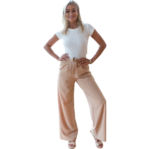 Women Wide Legs Pants High Waist Ruched Side Pockets Zipper Solid Loose Straight Casual Trousers KhakiApparel &amp; Jewelry<br>Women Wide Legs Pants High Waist Ruched Side Pockets Zipper Solid Loose Straight Casual Trousers Khaki<br>