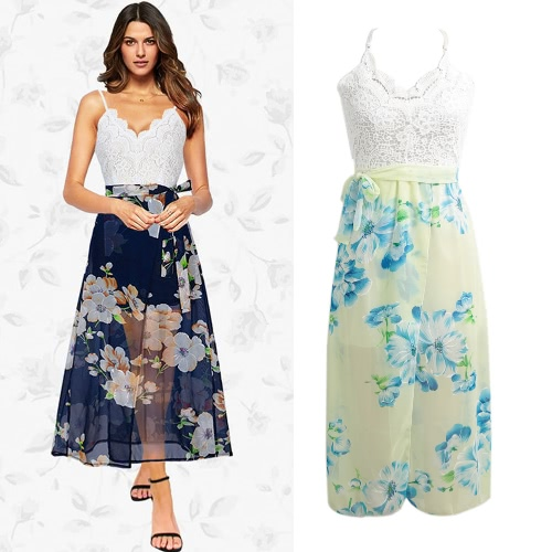 Backless Floral Print Chiffon Dress Lace V Neck Open Back Beach Summer Girls Casual Long Dress Dark Blue/YellowApparel &amp; Jewelry<br>Backless Floral Print Chiffon Dress Lace V Neck Open Back Beach Summer Girls Casual Long Dress Dark Blue/Yellow<br>