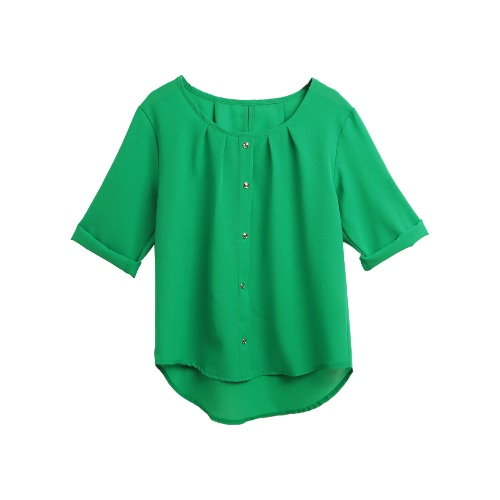 Women Casual Blouse Three Quarter Roll Up Sleeves Ruched O Neck Buttons Breathable OL Tops Workday Pullover ShirtApparel &amp; Jewelry<br>Women Casual Blouse Three Quarter Roll Up Sleeves Ruched O Neck Buttons Breathable OL Tops Workday Pullover Shirt<br>