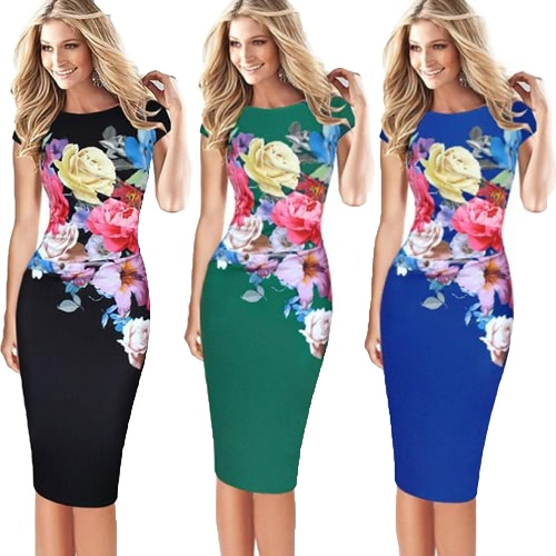 Elegant Women Midi Dress Floral Print Bodycon Short Sleeve Ruched Formal Work Party Pencil Dress Black/ Blue/GreenApparel &amp; Jewelry<br>Elegant Women Midi Dress Floral Print Bodycon Short Sleeve Ruched Formal Work Party Pencil Dress Black/ Blue/Green<br>