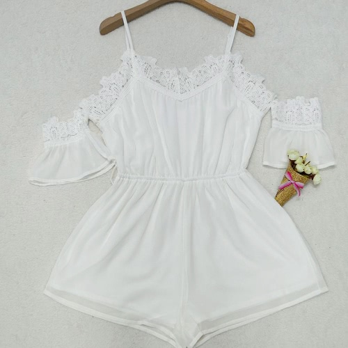 Women Off Shoulder Chiffon Jumpsuit Crocheted Lace V Neck Elastic Waist Loose Playsuit Rompers White/PinkApparel &amp; Jewelry<br>Women Off Shoulder Chiffon Jumpsuit Crocheted Lace V Neck Elastic Waist Loose Playsuit Rompers White/Pink<br>