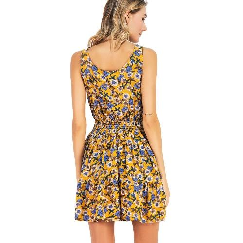New Summer Women Chiffon Floral Dress Elastic Waist Sleeveless Party Mini Dress YellowApparel &amp; Jewelry<br>New Summer Women Chiffon Floral Dress Elastic Waist Sleeveless Party Mini Dress Yellow<br>