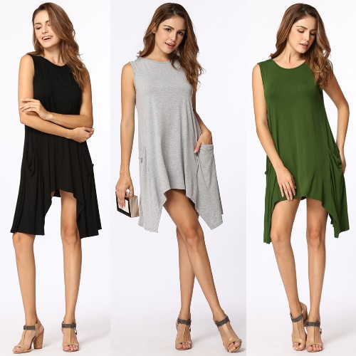 Women Summer Sleeveless Pockets Tunic Tank Tops Asymmetrical Hem Flowy Swing T Shirt Dress Casual TopApparel &amp; Jewelry<br>Women Summer Sleeveless Pockets Tunic Tank Tops Asymmetrical Hem Flowy Swing T Shirt Dress Casual Top<br>