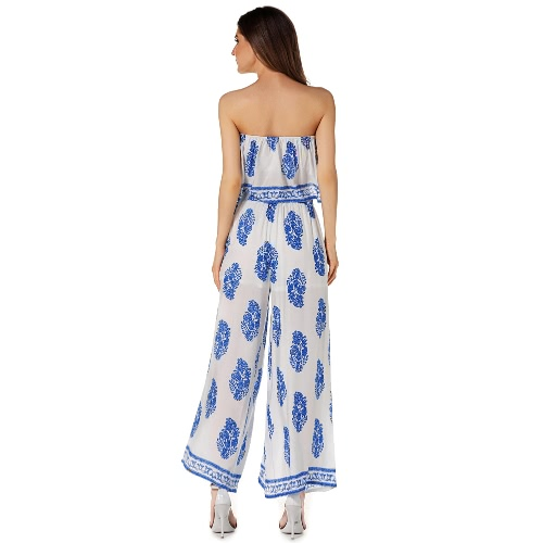 Sexy Women Two-piece Set Strapless Crop Top Wide Leg Pants Floral Striped Print Split Beach Boho Suits Outfits White/Red/BlueApparel &amp; Jewelry<br>Sexy Women Two-piece Set Strapless Crop Top Wide Leg Pants Floral Striped Print Split Beach Boho Suits Outfits White/Red/Blue<br>