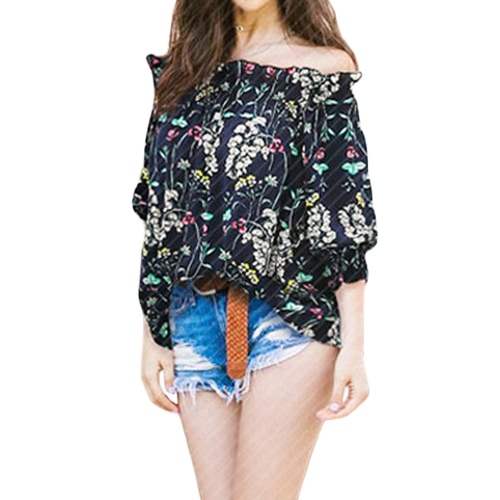 New Sexy Women Off Shoulder Blouse Shirt Shirred Slash Neck 3/4 Sleeve Casual Loose Top Dark Blue/WhiteApparel &amp; Jewelry<br>New Sexy Women Off Shoulder Blouse Shirt Shirred Slash Neck 3/4 Sleeve Casual Loose Top Dark Blue/White<br>