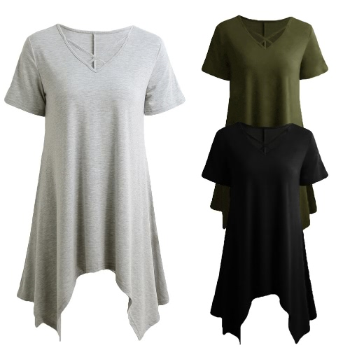Sexy Women Asymmetric T-Shirt Criss Cross V Neck Short Sleeve Blouse Solid Loose Casual Tunic Top Black/Grey/Army GreenApparel &amp; Jewelry<br>Sexy Women Asymmetric T-Shirt Criss Cross V Neck Short Sleeve Blouse Solid Loose Casual Tunic Top Black/Grey/Army Green<br>
