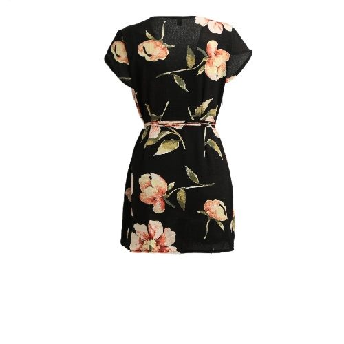 New Fashion Women Cardigan Dress Floral Print Self-tie Laciness Cup Sleeve Mini Dress BlackApparel &amp; Jewelry<br>New Fashion Women Cardigan Dress Floral Print Self-tie Laciness Cup Sleeve Mini Dress Black<br>