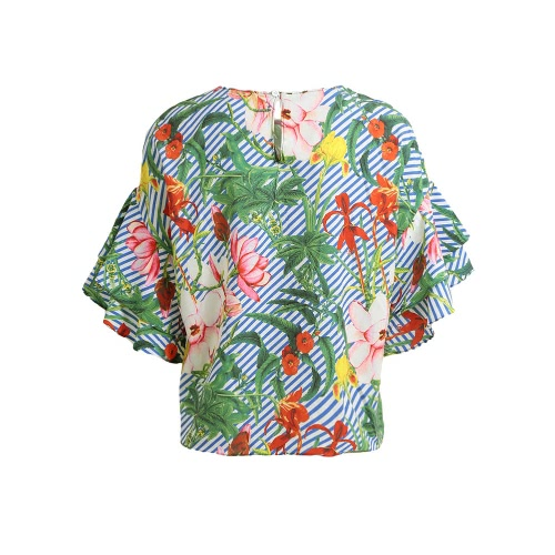 Women Blouse Floral Stripe Print Ruffle Sleeve Round Neck Loose Fit Tropical Beach Vacation Tops GreenApparel &amp; Jewelry<br>Women Blouse Floral Stripe Print Ruffle Sleeve Round Neck Loose Fit Tropical Beach Vacation Tops Green<br>