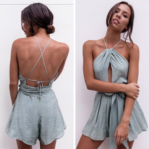 Women Playsuit Solid Halter Neck Drape Cross Over Strappy Backless Sexy Beach Holiday Rompers GreyApparel &amp; Jewelry<br>Women Playsuit Solid Halter Neck Drape Cross Over Strappy Backless Sexy Beach Holiday Rompers Grey<br>