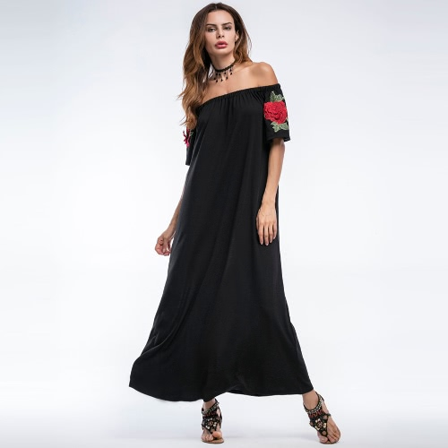 Sexy Women Long Loose Dress Off Shoulder Floral Embroidery Short Sleeves Elegant Party Dress BlackApparel &amp; Jewelry<br>Sexy Women Long Loose Dress Off Shoulder Floral Embroidery Short Sleeves Elegant Party Dress Black<br>