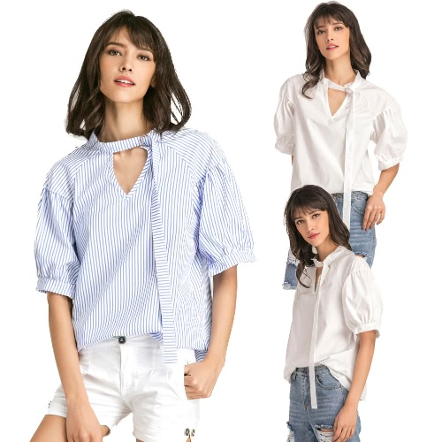 Women Big Size Blouse Solid Color Stripe Print V Puff Raglan Sleeve Oversized Casual Tops White/BlueApparel &amp; Jewelry<br>Women Big Size Blouse Solid Color Stripe Print V Puff Raglan Sleeve Oversized Casual Tops White/Blue<br>