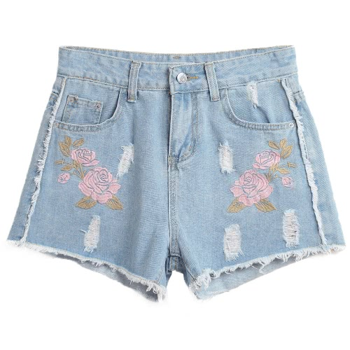 Women Embroidered Denim Shorts Ripped High Waist Destroyed Frayed Hole Washed Distressed Hot Pants BlueApparel &amp; Jewelry<br>Women Embroidered Denim Shorts Ripped High Waist Destroyed Frayed Hole Washed Distressed Hot Pants Blue<br>