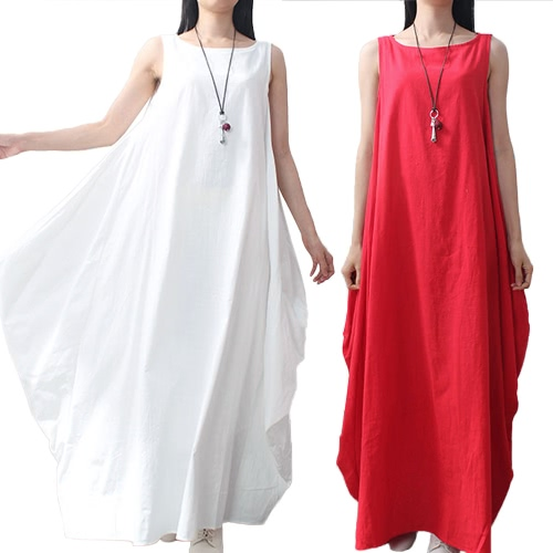 Women Maxi Sleeveless Tunic Dress Plus Size Pockets O Neck Solid Loose Mori Swing Tank Dress White/RedApparel &amp; Jewelry<br>Women Maxi Sleeveless Tunic Dress Plus Size Pockets O Neck Solid Loose Mori Swing Tank Dress White/Red<br>
