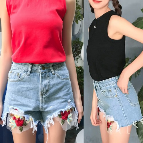 New Fashion Women Denim Shorts Floral Embroidery Frayed Ripped High Waist Slim Short Jeans Light BlueApparel &amp; Jewelry<br>New Fashion Women Denim Shorts Floral Embroidery Frayed Ripped High Waist Slim Short Jeans Light Blue<br>