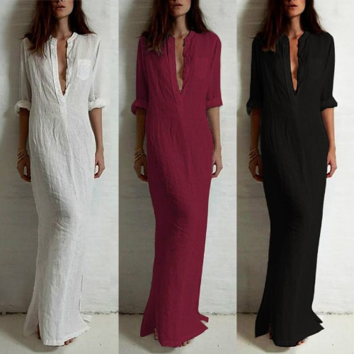 Women Retro Long Maxi Dress Elegant Sexy Ladies Long Sleeve Stand Collar Long Line Split Solid Shirt DressApparel &amp; Jewelry<br>Women Retro Long Maxi Dress Elegant Sexy Ladies Long Sleeve Stand Collar Long Line Split Solid Shirt Dress<br>