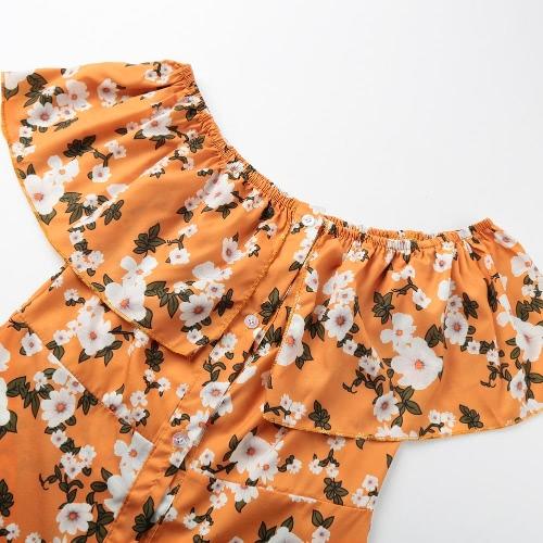 Women Summer Off Shoulder Flower Dress Print Slash Neck Casual Beach Dress YellowApparel &amp; Jewelry<br>Women Summer Off Shoulder Flower Dress Print Slash Neck Casual Beach Dress Yellow<br>