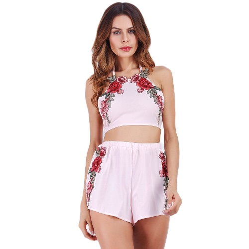 Sexy Women Halter Crop Top Shorts Floral Embroidery Sleeveless Backless Casual Two Pieces White/PinkApparel &amp; Jewelry<br>Sexy Women Halter Crop Top Shorts Floral Embroidery Sleeveless Backless Casual Two Pieces White/Pink<br>