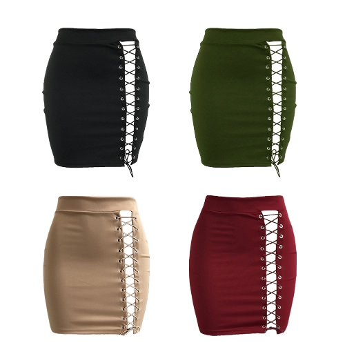 New Sexy Women Bodycon Skirt Lace-Up Hollow Out Bandage High Waist Solid Short SkirtApparel &amp; Jewelry<br>New Sexy Women Bodycon Skirt Lace-Up Hollow Out Bandage High Waist Solid Short Skirt<br>