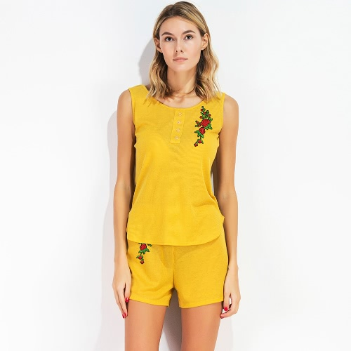 New Women Sets Casual 2 Piece Set Floral Embroidery O-Neck Sleeveless T-Shirt Tank Top and Shorts Set YellowApparel &amp; Jewelry<br>New Women Sets Casual 2 Piece Set Floral Embroidery O-Neck Sleeveless T-Shirt Tank Top and Shorts Set Yellow<br>