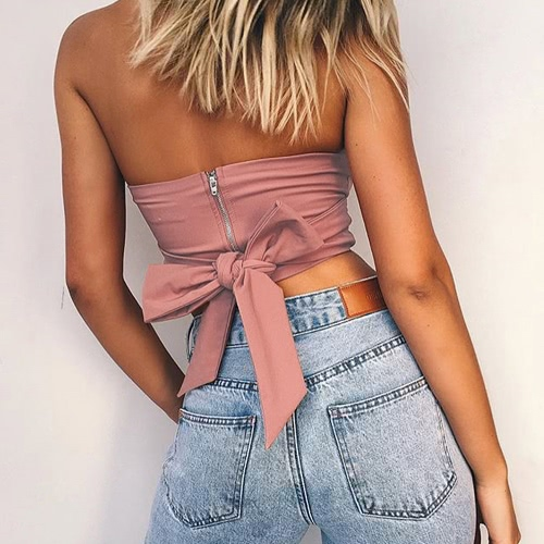 Sexy Women Bodycon Crop Top Blouse Solid Bandage Off Shoulder Backless Sleeveless Casual Clubwear TopApparel &amp; Jewelry<br>Sexy Women Bodycon Crop Top Blouse Solid Bandage Off Shoulder Backless Sleeveless Casual Clubwear Top<br>