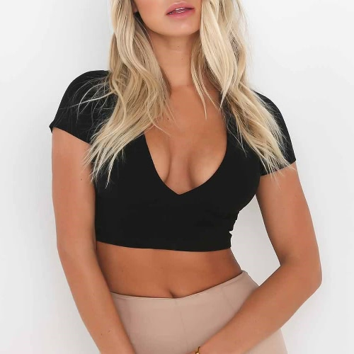 Sexy Women Bodycon Crop Top Hollow Out Lace Up V-Neck Short Sleeves Casual Top Blouse Black/White/PinkApparel &amp; Jewelry<br>Sexy Women Bodycon Crop Top Hollow Out Lace Up V-Neck Short Sleeves Casual Top Blouse Black/White/Pink<br>