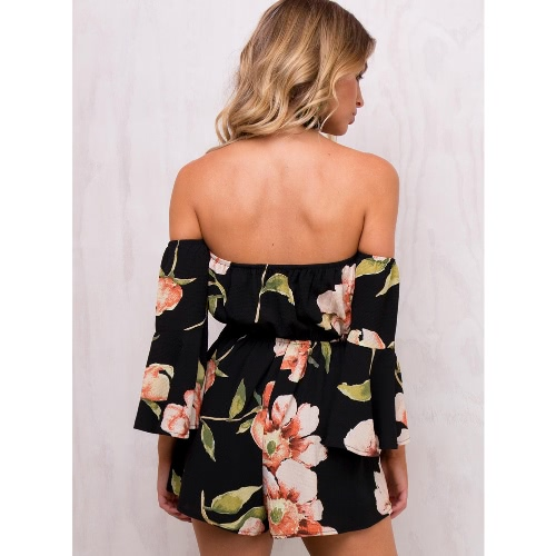 Sexy Women Jumpsuit Floral Print Off Shoulder Bell Sleeves Backless Casual Playsuit Rompers BlackApparel &amp; Jewelry<br>Sexy Women Jumpsuit Floral Print Off Shoulder Bell Sleeves Backless Casual Playsuit Rompers Black<br>