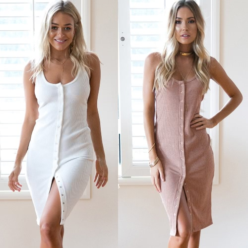Sexy Women Knitted Slip Dress Button Front Spaghetti Strap Sleeveless Backless Solid Slim Bodycon Dress Pink/WhiteApparel &amp; Jewelry<br>Sexy Women Knitted Slip Dress Button Front Spaghetti Strap Sleeveless Backless Solid Slim Bodycon Dress Pink/White<br>