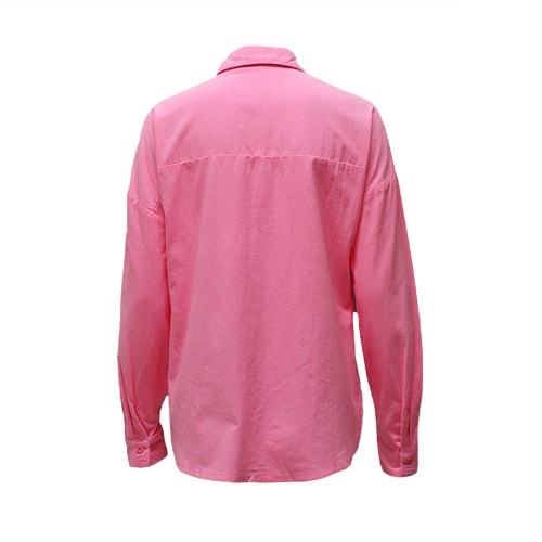 Women Plus Size Shirt Solid Twisted Knot Pockets Buttons Splits Long Sleeve Oversized Casual Blouse PinkApparel &amp; Jewelry<br>Women Plus Size Shirt Solid Twisted Knot Pockets Buttons Splits Long Sleeve Oversized Casual Blouse Pink<br>