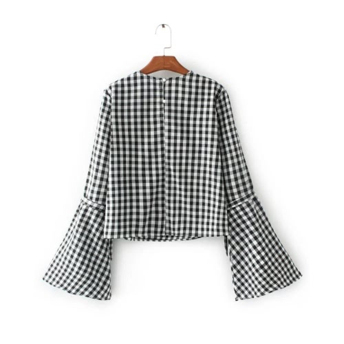 New Sexy Women Floral Embroidery Plaid Shirt Flare Sleeve Loose Blouse Streetwear Top BlackApparel &amp; Jewelry<br>New Sexy Women Floral Embroidery Plaid Shirt Flare Sleeve Loose Blouse Streetwear Top Black<br>