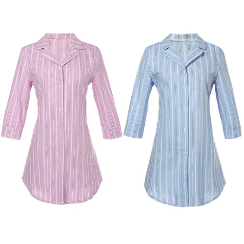 Fashion Women Striped Shirt Button Front Turn Down Collar 3/4 Sleeve Loose Long Shirt Tops Blouse Pink/Light BlueApparel &amp; Jewelry<br>Fashion Women Striped Shirt Button Front Turn Down Collar 3/4 Sleeve Loose Long Shirt Tops Blouse Pink/Light Blue<br>