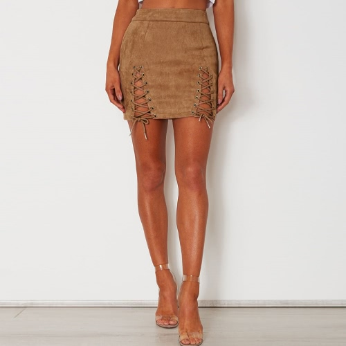 Women Lace-up Suede Skirt Slit Eyelets Straps Party Short Suedtte Mini SkirtApparel &amp; Jewelry<br>Women Lace-up Suede Skirt Slit Eyelets Straps Party Short Suedtte Mini Skirt<br>