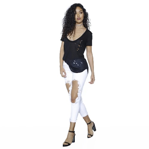 Women Cropped Jeans Stretchy Denim Solid Hole Knee Zipper Mid Waist Distressed Sexy Skinny Pencil Pants WhiteApparel &amp; Jewelry<br>Women Cropped Jeans Stretchy Denim Solid Hole Knee Zipper Mid Waist Distressed Sexy Skinny Pencil Pants White<br>