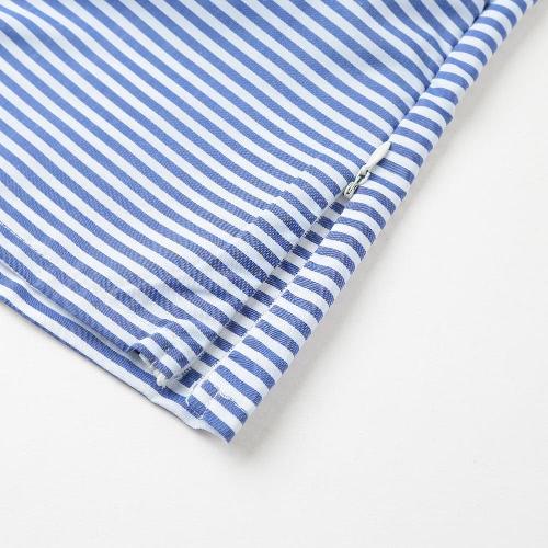 Sexy Women Spring Striped Shirt Oblique Collar Long Sleeve Button Ruffle Blouse Tops BlueApparel &amp; Jewelry<br>Sexy Women Spring Striped Shirt Oblique Collar Long Sleeve Button Ruffle Blouse Tops Blue<br>