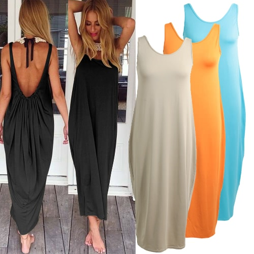 Boho Women Dress Plunge Backless Round Neck Sleeveless Long Maxi Gown Casual Beach Holiday SundressApparel &amp; Jewelry<br>Boho Women Dress Plunge Backless Round Neck Sleeveless Long Maxi Gown Casual Beach Holiday Sundress<br>