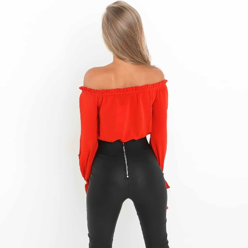New Sexy Women Off Shoulder Blouse Shirt Lace Up Cut Out Long Sleeve Tie Cuff Streetwear Top Coffee/RedApparel &amp; Jewelry<br>New Sexy Women Off Shoulder Blouse Shirt Lace Up Cut Out Long Sleeve Tie Cuff Streetwear Top Coffee/Red<br>