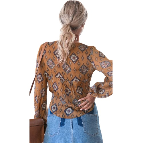 Sexy Women Blouse Shirt Long Sleeve Deep V Neck Printed Bow Tie Casual Streetwear Top BrownApparel &amp; Jewelry<br>Sexy Women Blouse Shirt Long Sleeve Deep V Neck Printed Bow Tie Casual Streetwear Top Brown<br>